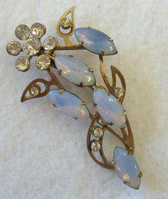 Vintage Faux Opal Brooch 1950s Jewelry Flower by BuyVintageJewelry