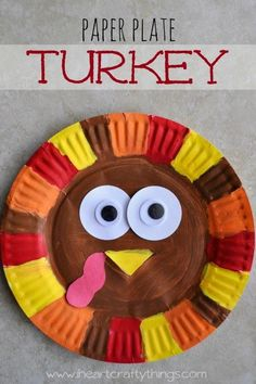 Simple and cute paper plate turkey craft for Thanksgiving. Fun Thanksgiving kids craft, turkey crafts for kids, Thanksgiving Turkey Craft, Thanksgiving preschool crafts and paper plate crafts. Thanksgiving Crafts For Kids, Fall Crafts, Holiday Crafts, Thanksgiving Turkey, Thanksgiving Craft Kindergarten, Kid Crafts, Hand Crafts For Kids, Paper Plate Crafts For Kids, Adult Crafts