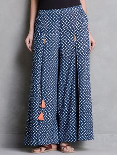 Indigo-White Dabu Printed Pleated and Tassel Detail Elasticated Waist Palazzos by Indian August Plazzo Pants, Salwar Pants, Trouser Pants, Kurta Designs Women, Blouse Designs, Fashion Pants, Fashion Dresses, Estilo Hippie, Pants For Women