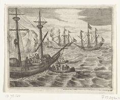 Twee Franse kaperschepen voor de monding van de Maas gevangengenomen, 1536, anoniem, 1600 - 1699