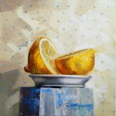 Kitchen art Still Life Lemon original art painting fruit Realistic oil painting fruit on canvas art polca dots yellow wall art for her by ArtFable on Etsy