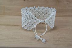 Micro macrame bracelet white beaded cuff by LumiLightAngelArt