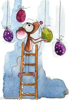 ACEO Original Watercolor Folk Art Whimsical Mouse Hanging Easter Eggs Yum Yum | eBay