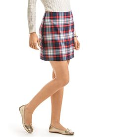 Winter Wool Plaid Skirt