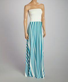 Look at this #zulilyfind! Teal & White Abstract Stripe Strapless Maxi Dress by La Class #zulilyfinds