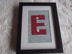 Personalised red spotty letter E on blue patterned by MadeByAmelie, £7.50