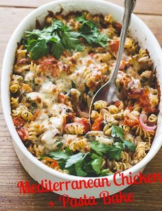 The Mediterranean Diet has been known as a healthful diet for years, and recent studies further support its benefits. Try making this Mediterranean Chicken + Pasta bake which includes many of the foods found in the diet! #MediterraneanDiet