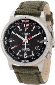 Timex Intelligent Quartz Black Dial Green Strap Compass Mens Watch T2N726 Timex. $119.00. Quartz Movement. Mineral Crystal. 100 Meters / 330 Feet / 10 ATM Water Resistant. Intelligent Quartz Collection. 45mm Case Diameter