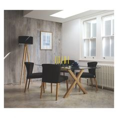 DUBLIN 8 seater oak and glass dining table | Buy now at Habitat UK
