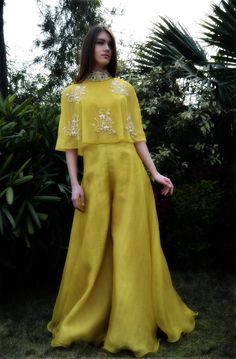 Yashodhara crop top paired with flaired palazzos Desi Wedding Dresses, Indian Wedding Outfits, Pakistani Outfits, Indian Outfits, Indian Attire, Indian Ethnic Wear, Indian Designer Outfits, Designer Dresses, Designer Clothing