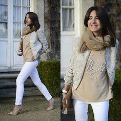 White & beige angel (by Alexandra Per) - Asos Jacket, Preppy Purple Sweater, Mih Jeans Jeans, Zara Shoes, Zara Clutch, Storets Foulard