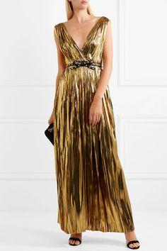 Gold silk-blend lamé  Concealed zip fastening along side 52% silk, 48% Lurex Dry clean
