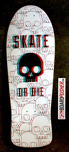 "This Featured Deck of the day, a full bleed old school graphic by Jeffrey Case, ""is inspired from old school 3D anaglyph artwork. 3D red-cyan glasses are recommended to view the design correctly."" Go ahead, we'll wait while you try to turn your computer or phone into a 3D device.  www.BoardPusher.com skate skateboard skateboards skateboarding sk8 art graphics"