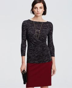 Spacedye Side Ruched Top | Ann Taylor
