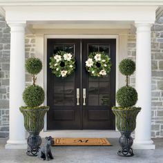 The only thing that makes for a happier greeting than a wreath is. two wreaths. Dress up your door with our lifelike greenery and wreaths… Double Front Entry Doors, Front Door Entryway, Double Doors Exterior, Front Door Decor, Farmhouse Front Doors, Front French Doors, Black Front Doors, Privacy Glass Front Door, Black Windows Exterior