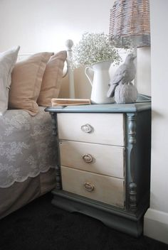 Shabby chic nightstand but black instead of blue
