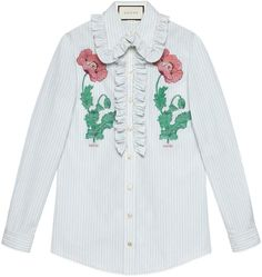Embroidered striped cotton shirt