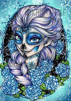 Dia de los muertos Princess Elsa Sugar Skull Print