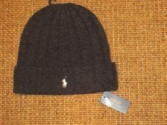 00c05436f12d7 Polo Ralph Lauren Mens Beanie Hat Wool Winter Skull Cap Charcoal Gray New   PoloRalphLauren