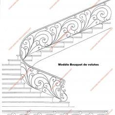 Rampes d'escalier en fer forgé Style Classique : Modèle Bouquets de Volutes