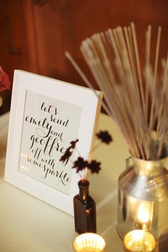 love these framed signs...and a great idea for the send off, with matchbooks possibly?