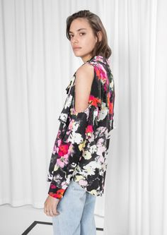 9cdbfe2f9b0 Other Stories image 2 of Frilled Cut Out Blouse in Floral No Frills