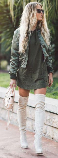 khaki bomber jacket + Janni Deler + cropped jacket + matching khaki hoodie + white thigh high boots   Jacket: Gina Tricot, Dress: Lmso.com, Bag: Phillip Lim, Shoes: Nelly.