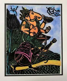 Ganesha Ganesha riding Moushika, Ganesha Moushika, Elephant-headed God, Remover of obstacles, Bu Thangka Painting, Bodhi Tree, Hindu Art, Buddhist Art, Woodblock Print, Watercolor And Ink, Ganesha, Deities, Fine Art Prints