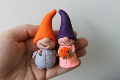 Gnome Cake Toppers Custom Colors Purple and by CherryRedToppers