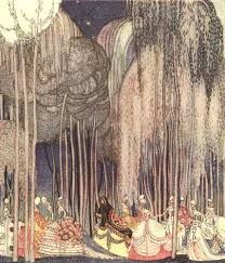 The Twelve Dancing Princesses by Kay Nielsen - Illustration for the book Powder and Crinoline: Old Fairy Tales, written by Arthur Quiller-Couch Kay Nielsen, Art And Illustration, Princess Illustration, Book Illustrations, Botanical Illustration, Fantasy Kunst, Fantasy Art, Art Nouveau, Art Beauté