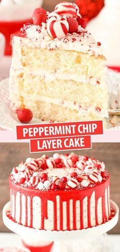 This Peppermint Chip Layer Cake is made with a super moist and fluffy peppermint cake and peppermint chip frosting! The candy wreath decoration on top is super fun and makes it perfect for the holidays! Holiday Cakes, Christmas Desserts, Christmas Baking, Christmas Cakes, Family Christmas, Christmas Recipes, Christmas Lasagna, Christmas Time, Family Family