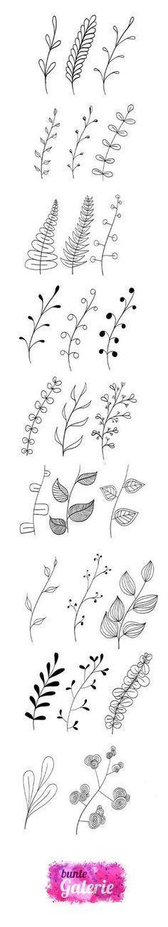 Doodle Florale Elemente für Lettering oder Zentangle inspirierte Kunst #ad