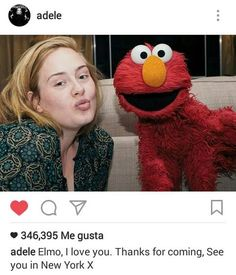 Adele and Elmo are our new favorite celebrity friends, as the two met up in Australia and posed for an adorable picture for fans. Celebrity Selfies, Celebrity Makeup, Celebrity Pictures, Celebrity Style, Adele Daydreamer, No Makeup Selfies, Adele Love, Adele 25, Elmo And Friends