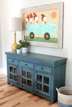 I LOVE the color of the buffet! I LOVE the color of the buffet! Rustic Buffet, Farmhouse Buffet, Rustic Entry, Rustic Farmhouse, Dresser In Living Room, Living Room Decor, Living Room Storage Furniture, Rustic Furniture, Painted Furniture
