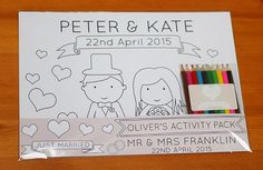 Personalised Wedding Children's Activity Pack - Childrens Wedding Favour - Wedding Colouring Pack - Bride & Groom Colouring Pages