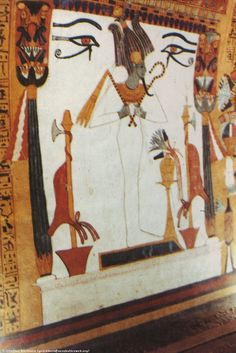 Painting in the tomb of Senngen, showing Osiris, the God of the Underworld