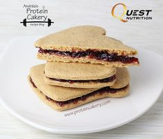 Peanut Butter & Jelly Protein Cookie Sandwiches - Andréa's Protein Cakery high protein recipes - gluten free cookies, Quest protein recipe