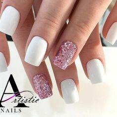 french orange pink designs red designs nail design nails 54 Beautiful Mismatched nail art design - white and pink glitter nail art, white nail nails ,nail acrylic ,nails Pink Glitter Nails, Glitter Manicure, White Acrylic Nails, White Nail Art, White Glitter, White Sparkle Nails, Pink White Nails, Orange Nail, Nail Ideas