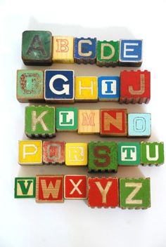 vintage wooden alphabet blocks by chrystal Wooden Alphabet Blocks, Wooden Blocks, Nostalgia, Alphabet Art, My Childhood Memories, Childhood Toys, Vintage Games, Art Graphique, Old Toys