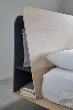 headboard storage–Kauffman by Nadadora – Mobenia Home Plywood Furniture, Bar Furniture, Shabby Chic Furniture, Bedroom Furniture, Furniture Design, Bedroom Decor, Cheap Furniture, Oak Bedroom, Furniture Buyers