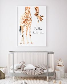 Hello Little One Giraffe Print (en) Giraffe art (fr) Giraffe animal nursery decor Nursery wall art Nursery safari prints (fr) Gender neutral - ⚜️Children room Art Baby Boy Rooms, Baby Boy Nurseries, Baby Room Ideas For Boys, Baby Room Wall Decor, Modern Nurseries, Room Baby, Decor Room, Bedroom Decor, Gender Neutral Nurseries