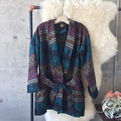 ɮʟʊ ʍօօռ •• navajo sweater jacket ↛ blu moon ↛ one size ↛ preloved; great condition.  ☾lovely printed sweater jacket perfect for cozying up in. tie at waist accommodates all sizes.   ↛ this item is negotiable × no paypal × no trades × be kind, have fun & stay lovely ♡  xo | kiki Blu Moon Jackets & Coats