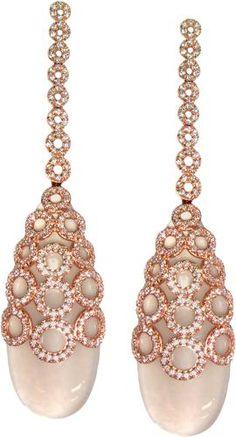 Carla Amorim rose quartz diamond earrings