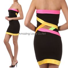 $22.99 NEON COLOR BLOCK Cut-Out Tube Mini Dress Club Cocktail Blocked Wear NEW S-M-L on eBay!