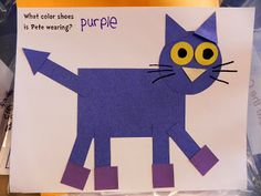 Pete the Cat craft made out of shapes. The pattern is a free download on this blog. So cute! #kindergarten