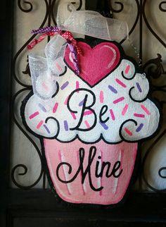 Valentine's Day Cupcake Burlap Door Hanger Decoration and Wreath Replacement
