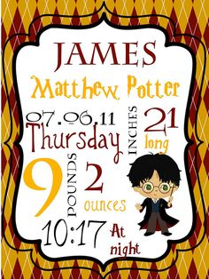 Hey, I found this really awesome Etsy listing at https://www.etsy.com/listing/221589516/harry-potter-baby-stats-collage-harry