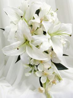 lily wedding bouquets | ... lily orchids real touch rosebuds roses sweetpeas white white lilies