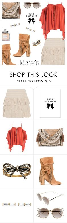 """Put a Bow on It!"" by annbaker ❤ liked on Polyvore featuring Maje, SS Print Shop, Sans Souci, Shashi, Marc Jacobs, Aquazzura, Christian Dior and bows"