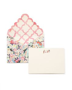 Stationery Set with monogramable Cards, and Floral Envelopes by HAPPY MENOCAL for Preorder on Moda Operandi Stationery Craft, Stationery Items, Personalized Stationery, Stationery Design, Wedding Stationery, Wedding Invitations, Letterpress Business Cards, Letterpress Printing, Wedding Illustration